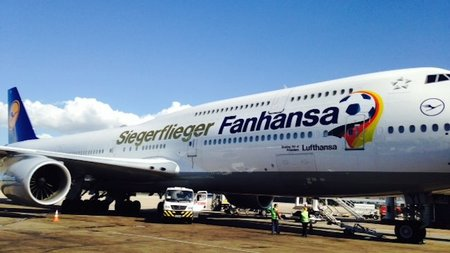 Germany's soccer heroes flying home with Lufthansa