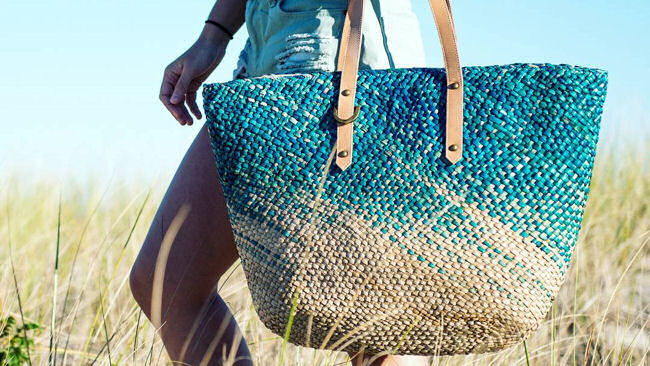 BEACH'D Sustainable Seagrass and Cotton Beach Totes