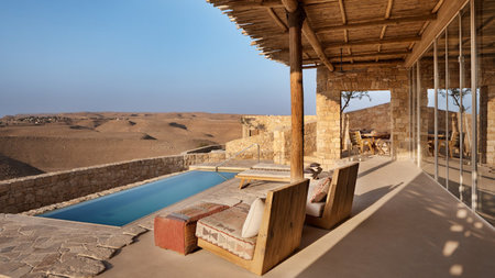 First Glimpse of the Desert Colors & Dunescape at Six Senses Shaharut in Israel
