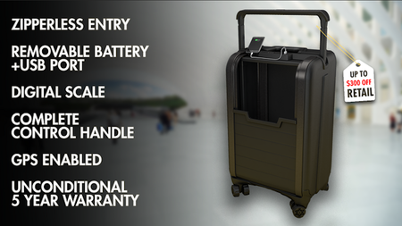 Trunkster: Zipperless Luggage with GPS + Battery + Scale