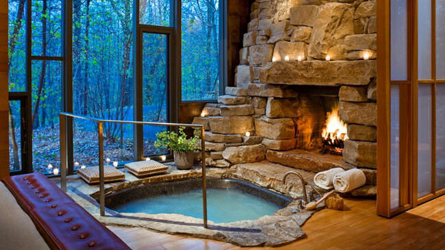 romantic hotel fireplace