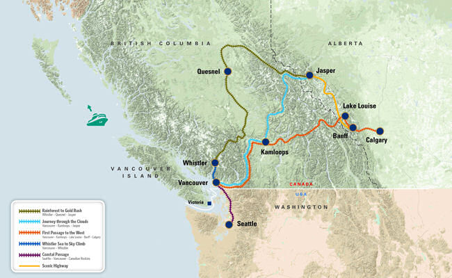 Rocky Mountaineer Route Map