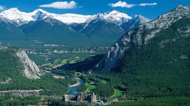 Fairmont Banff Springs Hotel aerial summer