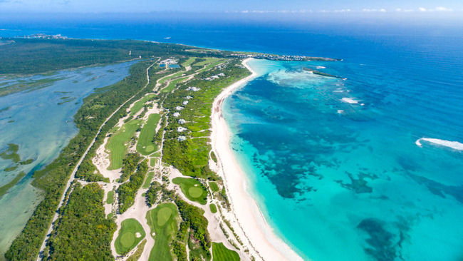 The Abaco Club on Winding Bay golf course aerial