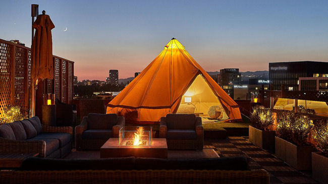Beverly Wilshire roof glamping