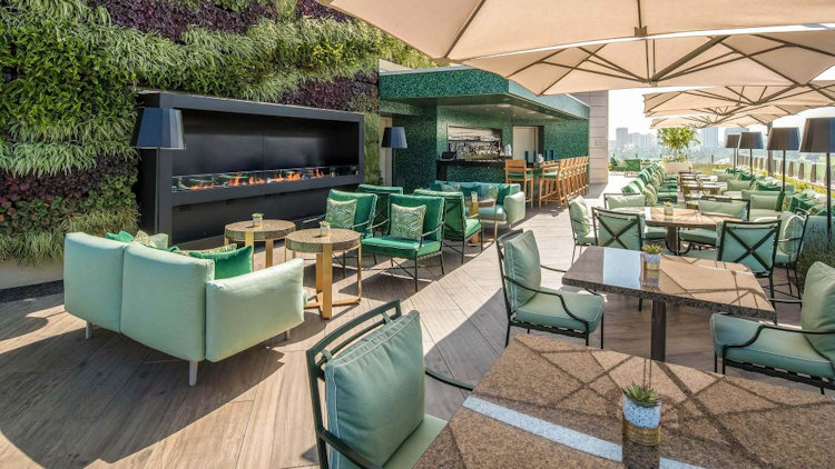 Waldorf Astoria Beverly Hills rooftop terrace