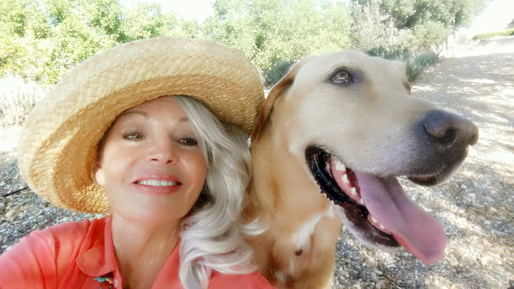 Nancy Chuda with her dog Journey