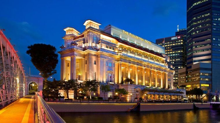 The Fullerton Hotel Singapore exterior night