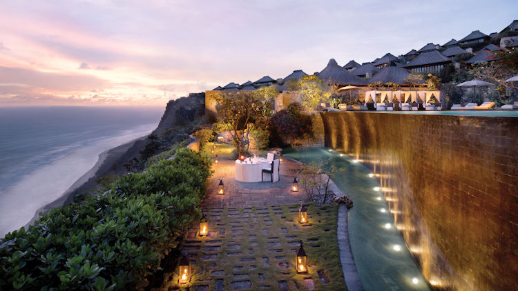 Bulgari Bali lower pool evening