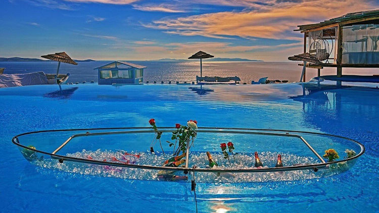 Mykonos villa pool sunset