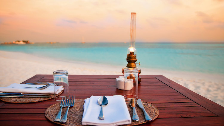 Turks and Caicos romantic beach dinner