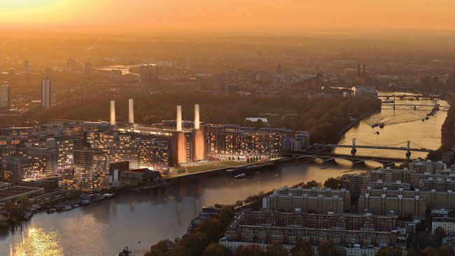 Battersea Power Station aerial sunset