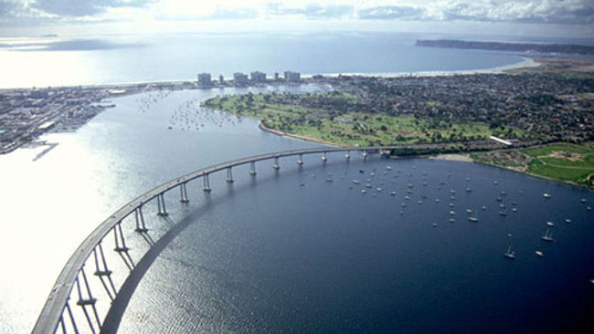 Coronado Bridge San Diego aerial view