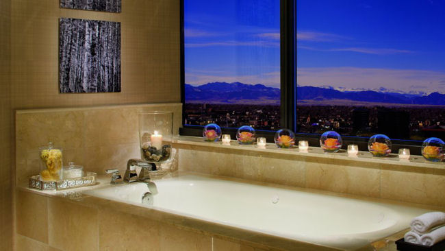Ritz-Carlton Denver bathtub with mountain view
