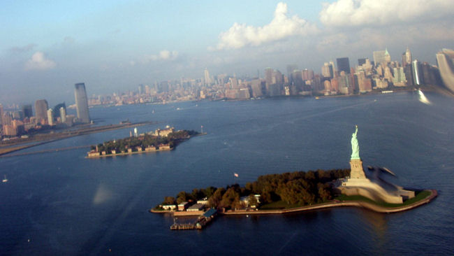 New York City view from helicopter